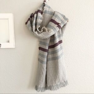 Large Frayed Hem Plaid Stripe Scarf Wrap